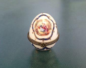 Limoges style porcelain box,Egg shaped box,Trinket  box,Pill box,Easter present.