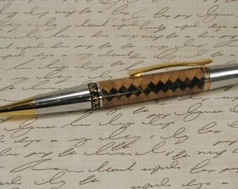 Handmade Segmented Wood Pen White oak and Ebony 3206