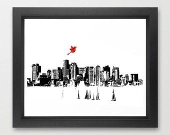 Boston City Skyline - Fine art print, Trans National Place , Massachusetts , New England