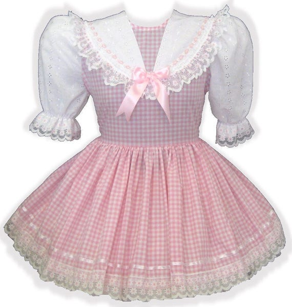 LG Custom Pink LEANNE Fit Adult Sissy amp; Dress by Eyelet Gingham KENDRA Baby 0Exdqwg70n