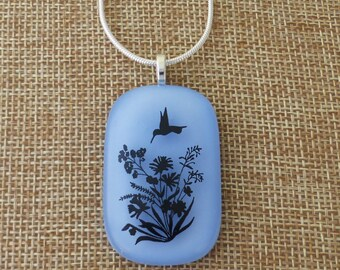 Hummingbird, Hummingbird and flowers,  Fused glass pendant, Blue glass, Blue fused glass, A15