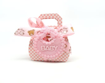 Pink Favor Box - Baby Shower Favor Box with Teddy Bear Ribbon and Pink Bib, Set of 10