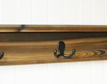 """Coat Rack Wall Shelf Rustic 24"""" Wood"""