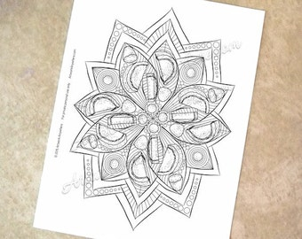 Candied Orange Gumdrop Candy Mandala - Adult coloring page printable download from Candy Kaleidoscope Artwork Anywhere ~hand drawn candies~