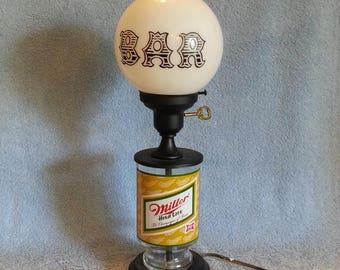 Bar Lamp - Miller Light Lamp - Beer Lamp - Man Cave Lamp