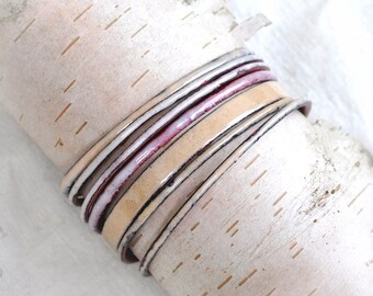 Flaxen Colored Bangle Set - Handmade Enamel Bracelets