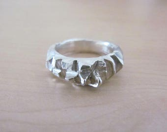 Shrapnel Ring Sterling Silver Cast Ring