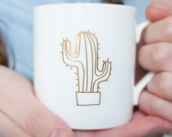 gold cactus mug, gold mug, fine bone china, 24 carat gold, made in uk, gift for her, perfect birthday gift, office gift, gift for him