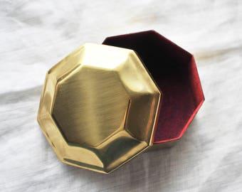Brass Box, Vintage Brass Jewelry Trinket Box, Octangular Box