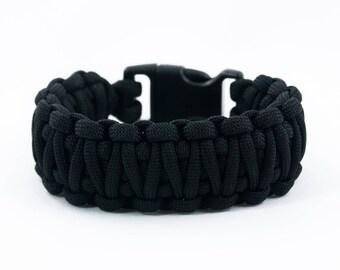 Black King Cobra, Paracord Bracelet, Mens Accessory, Large Bracelet, Gift for Him, Hiking Bracelet, Camping Gear, Survival Bracelet, Braided