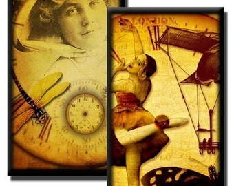 Vintage Steampunk collage sheet No1 - 1 inch x 2 inch/Domino size images