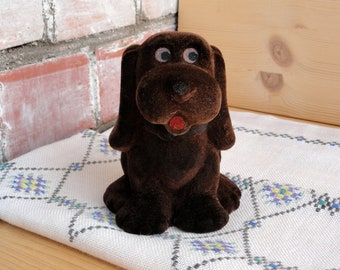 Flocked brown dog toy Soviet vintage soft toys animals Collectible plush toys  Gift for children Russian puppy toy Nursery decor figurine