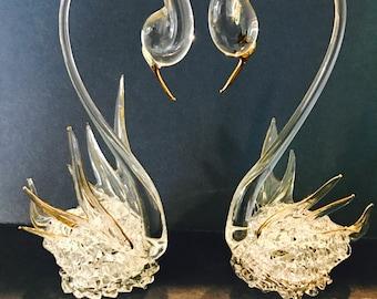 Wedding Cake Topper - Vintage Hand Blown Glass Swans