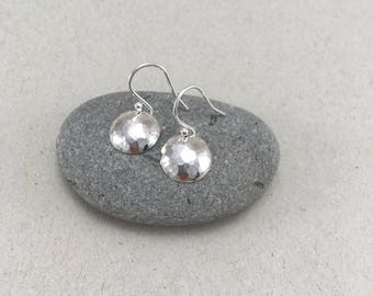 Small Hammered Silver Circle Earrings, Hammered Silver Dome Earrings, Handmade Silver Earrings, Silver Dangle Earrings Silver Dome Earrings