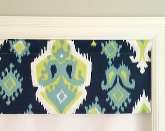 "Straight Valance.  Premier Prints Premier Ikat Slub Canal.  Custom Sizing Available Up To 54"" Wide."