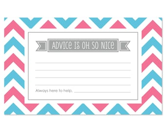 Chevron GenderReveal Advice Cards - 18 Helpful Hints Cards for a Baby Shower or Gender Reveal Party