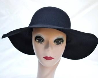 Wide Brim Wool Felt Black Large Brim Hat / Womens Large Brim Floppy Winter Hat / Boho Wide Brim Wool Felt Hat