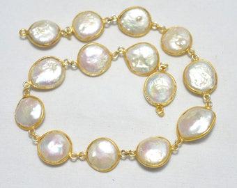 1 Feet Pearl Connector Chain,Gold Vermeil Bezel Connectors,Rose Cut Jewelry Connector Chain, Gemstone Connectors