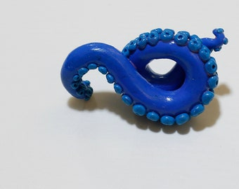 Blue Tentacle Swirl | Polymer Clay Pendant