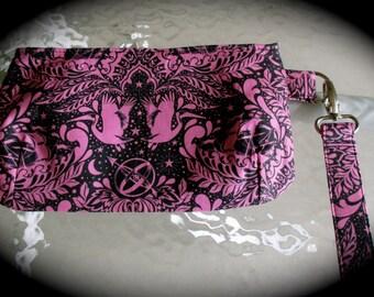 Hand sewn wristlet, fabric clutch, small bag, Tula pink bag, small wristlet, cosmetic bag, small purse, clutch bag made in Tula Pink fabric