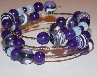 Purple Turkey Turquoise Bead Purple Candy Jade Opalite Silverplated Spacer Semi Precious Memory Wire Wrap Bracelet