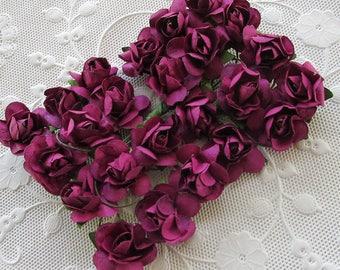 Paper Flowers 48 Small Millinery Roses In Violet Purple ~ 4 Bundles