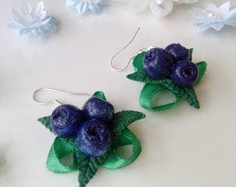 Botanical earrings blueberry nature lover gift for girlfriend nature berry jewelry berry earrings