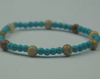 Bracelet made of precious stones, turquoise and agate