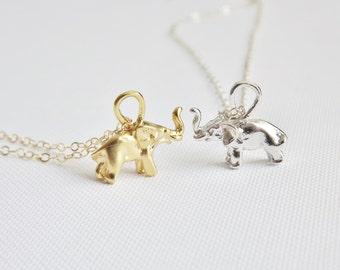 Gold Elephant Necklace - Tiny Gold Elephant - Gold Vermeil - Gold filled