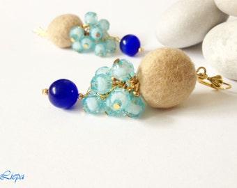 Aqua, bleu, beige felted wool drop beaded earrings