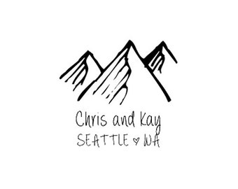 Rustic Wedding themed custom rubber stamp mountains save the date stamp