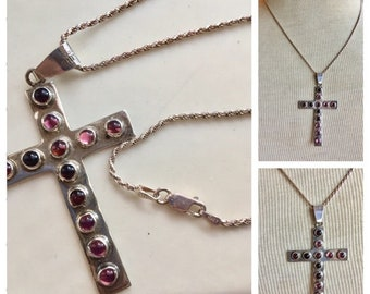TAXCO Cross Necklace Sterling Silver amethyst 925