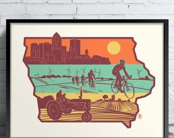 Layers of Iowa Screen Printed Poster