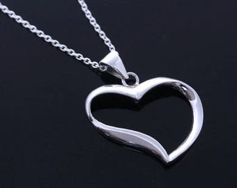 Big sterling silver heart Necklace. 925 Sterling Heart Necklace. Cut Heart Necklace. Mothers Day Most popular Gift.