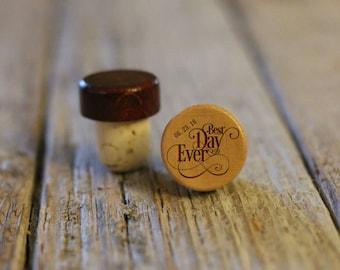 BEST PRICE ** Lot of Personalized Custom Wine Stopper, Laser Engraved Cork Bottle Topper, Reusable Rustic Wedding Favor --WS-L-BestDayEver