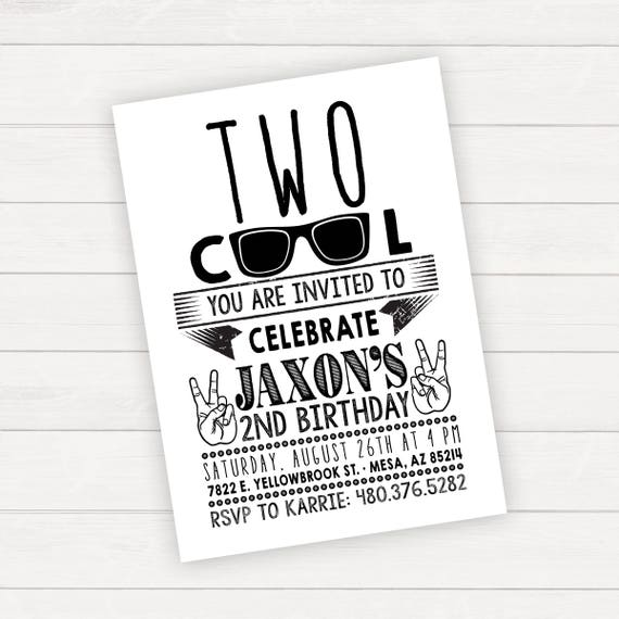 Two Cool Birthday Two Cool Invitation Two Cool Birthday