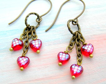 Small Red Heart Earrings