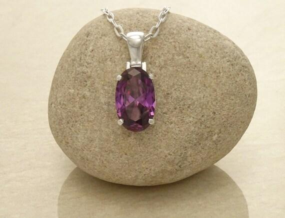 Purple Pendant - Sterling Silver - Oval Pendant - Purple, Amethyst Color - Small Pendent - Retro Pendant - Women, Men Jewelry.  Fashion.