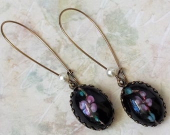 Black Rhinestone Earrings, Victorian Earrings, Black Earrings, Gift for Her, Dangle and Drop Earrings, Anniversary Jewelry Gifts