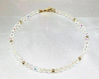 Solid 14kt Gold Anklet Clear Crystal Ankle Bracelet 14kt Solid Gold Anklet Gift For Her Jewelry For Her BuyAny3+Get1 Free