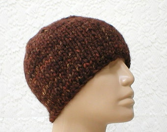 Brown knit hat, beanie hat, skull cap, brown rust camel tweed hat, winter hat, mens womens knit hat, winter hat, toque, hiking toboggan hat