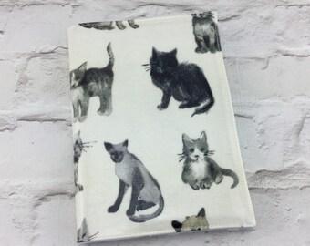 Cat Oilcloth A5 book cover