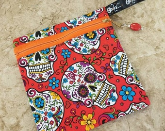 Sugar Skull Zipper Pouch, Skull, Calavera, Day of the Dead, Dia de Los Muertos hand sewn zipper bag, makeup bag