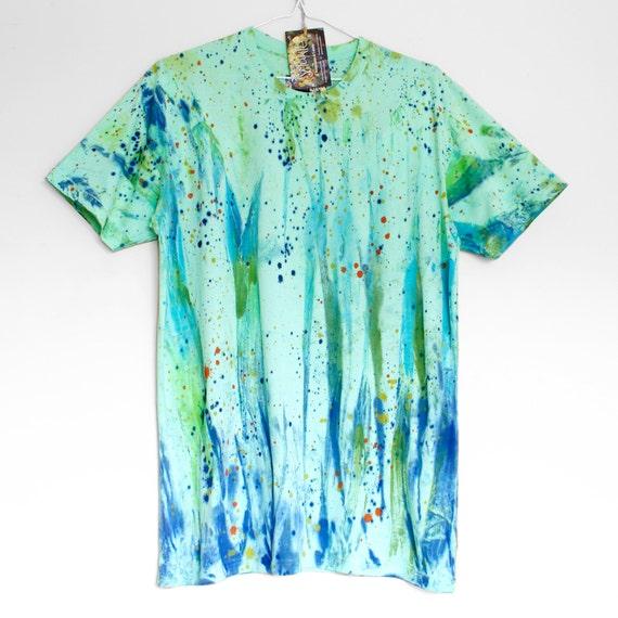 S DREAM GREEN. 100% cotton T shirt. Hand painted. Mint green tshirt. Unique t shirts. Tie dye