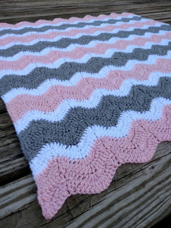Pink And Gray Crochet Chevron Baby Blanket Hand Made Ripple