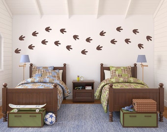 Dinosaur Footprints Wall Decal Set - Boy Bedroom Sticker - Dinosaur Bedroom Decor - Footprints (Set of 20) - Large Size