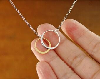 SILVER AND GOLD Elegant Eternal Circles on Silver Chain Medium,wedding gift,bridesmaid gift, bridal, circle necklace, W