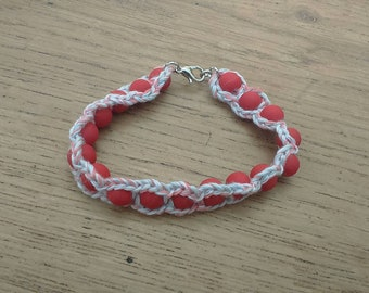 Beautiful bracelet beads and Red cotton red and white