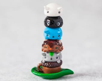 Polymer Clay One of a Kind Totoro Inspired Magnetic Stackable Totem, Magnetic Figurines, Cute, Kawaii, Glow in the Dark