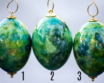 Green and Blue Egg Christmas Ornament